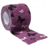 autsch & go Fixiertape lila mit Schmetterlingen - 5 cm x 4,5 m - Fixierung für Pod/Sensor / 1 Rolle